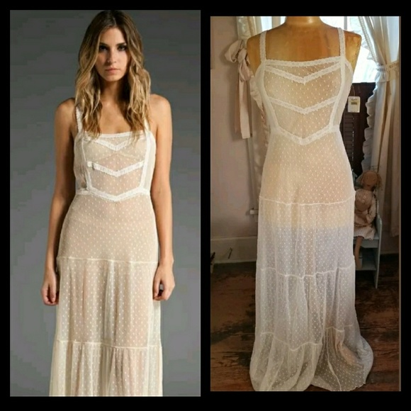 05c4c0733aaa Free People Dresses | Swiss Dot Mesh Lace Tiered Maxi Dress | Poshmark